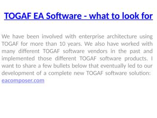 TOGAF EA Software - what to look for.pptx