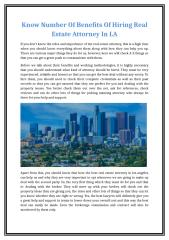 Know Number Of Benefits Of Hiring Real Estate Attorney In LA.doc